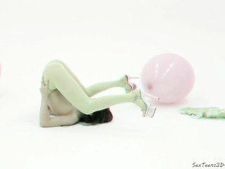 लचीला किशोरों की लड़की स्टूडियो में प्रस्तुत - 3 डी पोर्न मंच के पीछे