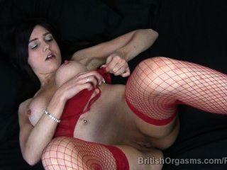 बिग निपल्स और fishnets उंगली में बड़ी होंठ खुद कमबख्त संभोग करने के लिए