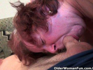 बड़े स्तन और बालों बिल्ली के साथ मोटा कदम-दादी गड़बड़ हो जाता है