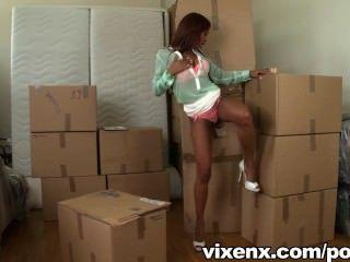 vixenx - हॉट लैटिना Katia एक बॉक्स में एक मुर्गा पाता है