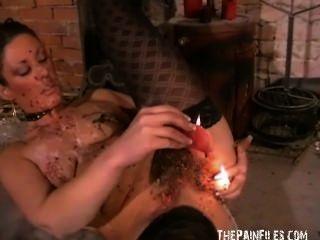 गांठदार crystels गर्म मोम सजा और अंग्रेजी बुत के आत्म तड़पा बीडीएसएम
