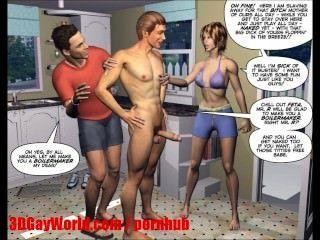 हताश पति 3 डी उभयलिंगी MMF कार्टून एनिमेटेड कॉमिक्स या हेनतई Toons