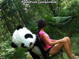 एक बड़ा खिलौना पांडा के साथ जंगल में सेक्स