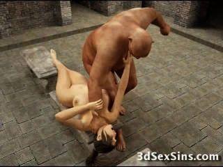 बदसूरत ogres 3 डी busty लड़कियों बकवास!