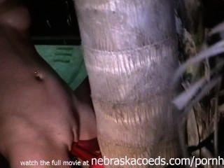 पट्टा पर सेक्स एक पेड़ के घर वीडियो के साथ