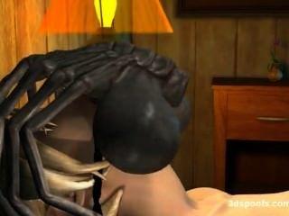 3 डी Facehugger मौखिक और योनि संसेचन।अजीबोगरीब