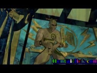 बड़ा पहलवान हेनतई समलैंगिक लोभी समूह gangbanged और juiced नंगा नाच होने