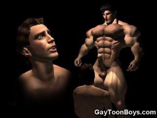 3 डी समलैंगिकों muscled बड़ा मुर्गा कल्पना!