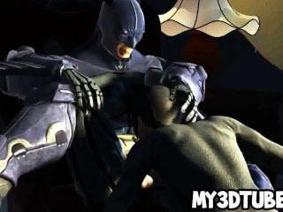 गर्म 3 डी कैटवूमन Batmans रॉक मुश्किल मुर्गा पर बेकार
