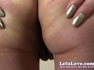 Lelu प्यार-dildo बिल्ली गधे puckering closeups के प्रसार