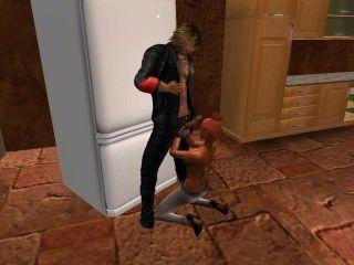 venicie एन tenue moulante devant le pote डी पुत्र मारी