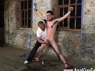 उसकी अवगत ballsack साथ कट्टर समलैंगिक tugged और उसके बकवास छड़ी