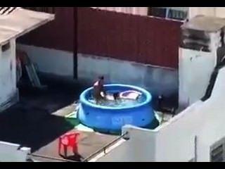 मैं छत पर कमबख्त मेरे पड़ोसियों को पकड़ लिया।