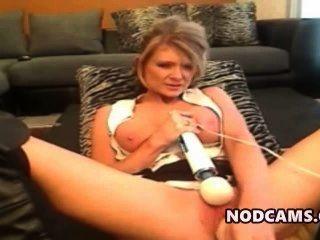 सींग का परिपक्व Bonde मुश्किल डब्ल्यू dildo masturbates