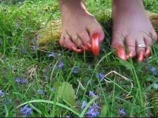नारंगी लंबे toenails