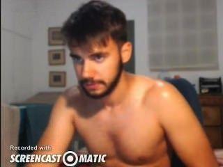 सेक्सी आदमी कैम पर cums