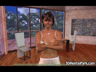 3 डी श्यामला जर्मन बेब नग्न हो जाता है