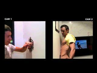 gloryhole में blowjob में समलैंगिक पुरुष चालें शौकिया सीधे आदमी