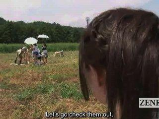 सबटाइटल सीबीटी आउटडोर जापानी वीर्य खेत दुहना
