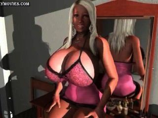 एनिमेटेड वेश्या रगड़ उसे भारी स्तन