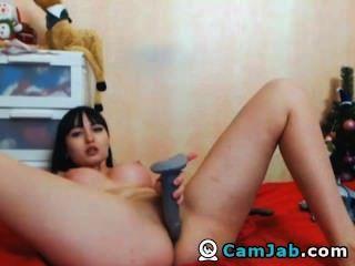 भारी स्तन एक dildo सवारी बेब