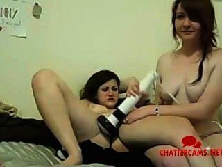 वेब कैमरा लड़की त्रिगुट खिलौना खेलने संभोग