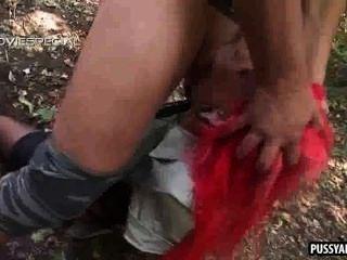 जंगल में एक कठिन मुर्गा पर चूसने लोमड़ी की तरह रेड इंडियन बेब