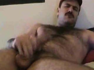 बुच moustached आदमी cums