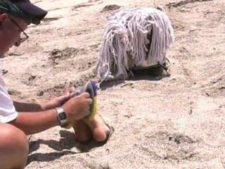 समुद्र तट पर क्रूर गुदगुदी यातना, गला घोट दिया और आंखों पर पट्टी